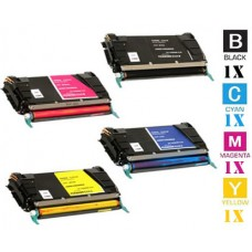 4 PACK Lexmark C736H High Yield Toner Cartridges Premium Compatible