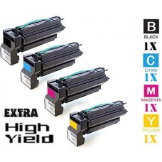 4 PACK Lexmark C7722 Extra High Yield Toner Cartridges Premium Compatible