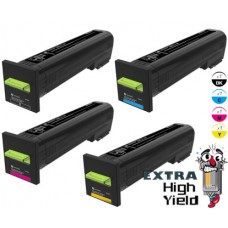 4 PACK Genuine Lexmark 72K10 Extra High Yield Toner Cartridges