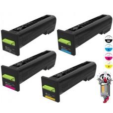 4 PACK Genuine Lexmark 72K0D Toner Cartridges