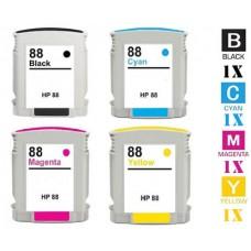 4 Piece Bulk Set Hewlett Packard HP88XL High Yield combo Ink Cartridges Remanufactured
