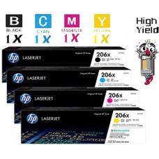 4 PACK Genuine Hewlett Packard HP206X High Yield combo Laser Toner Cartridges