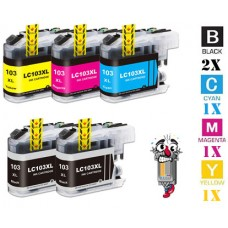 5 Piece Bulk Set Brother LC103 combo Ink Cartridges Remanufactured