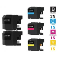 5 Piece Bulk Set Brother LC203 combo Ink Cartridges Remanufactured