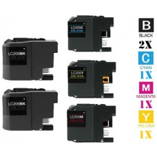 5 Piece Bulk Set Brother LC209 LC205 combo Ink Cartridges Remanufactured