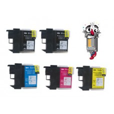 5 Piece Bulk Set Brother LC61 combo Ink Cartridges Remanufactured