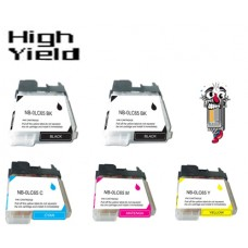 5 Piece Bulk Set Brother LC65 combo Ink Cartridges Remanufactured