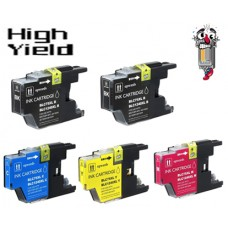 5 Piece Bulk Set Brother LC75 High Yield combo Ink Cartridges Remanufactured