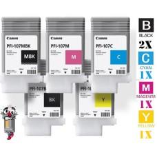 5 Piece Bulk Set Canon PFI107 combo Laser Toner Cartridges Premium Compatible