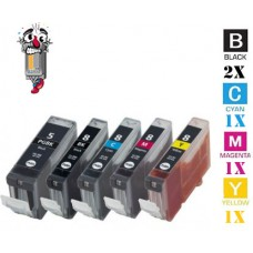 5 Piece Bulk Set Canon PGI5 CLI8 combo Ink Cartridges Remanufactured