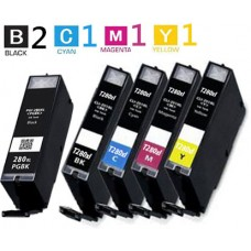5 Piece Bulk Set Canon PGI280XXL CLI281XXL High Yield Inkjet Cartridges Remanufactured