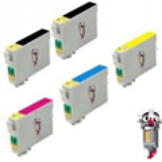 5 Piece Bulk Set Epson T0601 combo Ink Cartridges Remanufactured