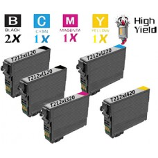 5 Piece Bulk Set Epson T212XL High Yield Ink Cartridge Remanufactured