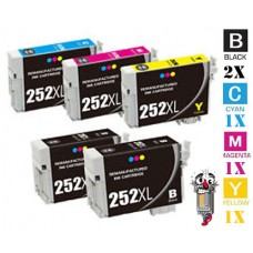 5 Piece Bulk Set Epson T252XL High Yield combo Ink Cartridges Remanufactured