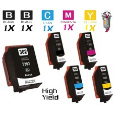 5 Piece Bulk Set Epson T302XL High Yield Ink Cartridge Remanufactured