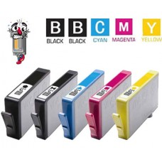 5 Piece Bulk Set Hewlett Packard HP564XL High Yield combo Ink Cartridges Remanufactured