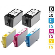 5 Piece Bulk Set Hewlett Packard HP902XL High Yield combo Ink Cartridges Remanufactured