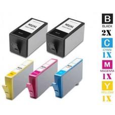 5 PACK Hewlett Packard HP902XL High Yield combo Ink Cartridges Remanufactured