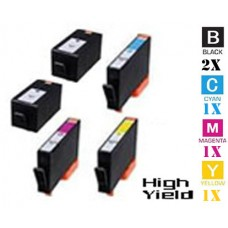 5 Piece Bulk Set Hewlett Packard HP934XL / HP935XL High Yield combo Ink Cartridges Remanufactured