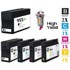 5 Piece Bulk Set Hewlett Packard HP952XL High Yield combo Ink Cartridges Remanufactured