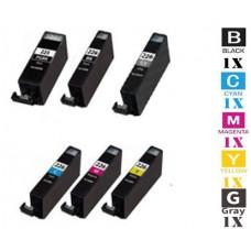6 Piece Bulk Set Canon PGI225 CLI226 combo Ink Cartridges Remanufactured