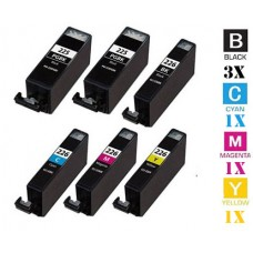 6 Piece Bulk Set Canon PGI225 CLI226 combo Ink Cartridges Remanufactured