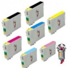 7 Piece Bulk Set Epson T048 combo Ink Cartridges Remanufactured