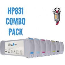 7 Piece Bulk Set Hewlett Packard HP831 Ink Cartridge Premium Compatible