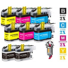 8 Piece Bulk Set Brother LC103 combo Ink Cartridges Remanufactured