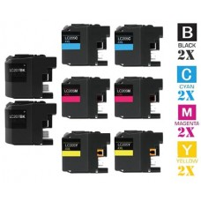 8 Piece Bulk Set Brother LC207 LC205 combo Ink Cartridges Remanufactured