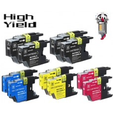 8 Piece Bulk Set Brother LC75 High Yield combo Ink Cartridges Remanufactured