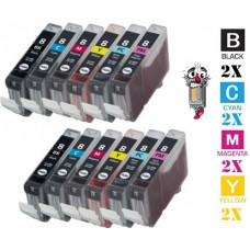 12 Piece Bulk Set Canon CLI8 combo Ink Cartridges Remanufactured