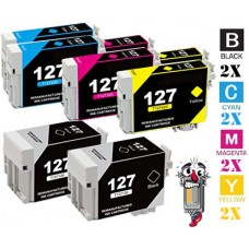 8 Piece Bulk Set Epson T127 combo Ink Cartridges Remanufactured