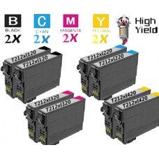 8 Piece Bulk Set Epson T212XL High Yield Ink Cartridge Remanufactured