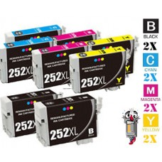 8 Piece Bulk Set Epson T252XL High Yield combo Ink Cartridges Remanufactured