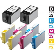8 Piece Bulk Set Hewlett Packard HP902XL High Yield combo Ink Cartridges Remanufactured