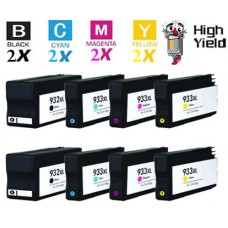 8 Piece Bulk Set Hewlett Packard HP932XL / HP933XL High Yield combo Ink Cartridges Remanufactured