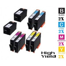 8 Piece Bulk Set Hewlett Packard HP934XL / HP935XL High Yield combo Ink Cartridges Remanufactured
