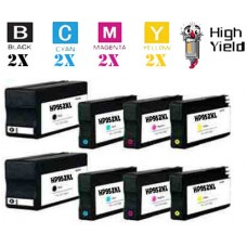 8 Piece Bulk Set Hewlett Packard HP952XL High Yield combo Ink Cartridges Remanufactured