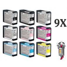 9 Piece Bulk Set Epson T580 Ink Genuine Original Vivid Magenta and L. Magenta