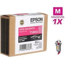 Genuine Original Epson T580A00 VIVID Magenta Inkjet Cartridge