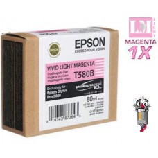 Genuine Original Epson T580B00 VIVID Light Magenta Inkjet Cartridge