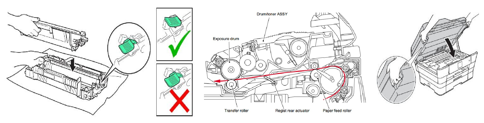 Instruction How to replace  how to replace brother DR720 Drum Change Soon