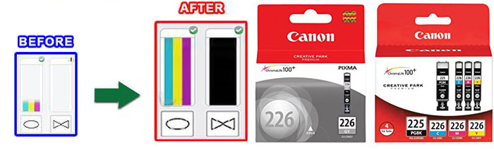 Instruction How to replace Cartridge For Canon PGI225 Low Ink message