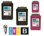 4 Piece Bulk Set Remanufactured Hewlett Packard HP65XL Ink Cartridges