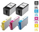 5 Piece Bulk Set Hewlett Packard HP902XL Inkjet Cartridges