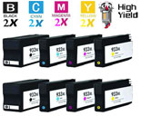8 Piece Bulk Set Hewlett Packard HP932XL / HP933XL Inkjet Cartridges