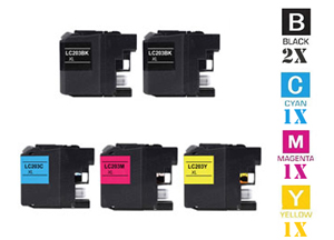 5 Piece Bulk Set Remanufactured Brother LC203 LC205 Ink Cartridges