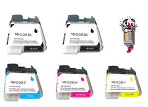 5 Piece Bulk Set Remanufactured Brother LC65 Ink Cartridges
