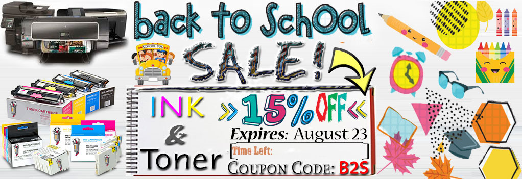 Back to Shool Sale Printer Ink laser toner Get Additional 15% OFF